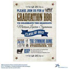 BBQ Graduation Party Invitation and by StarStreamDesign on Etsy