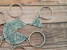 Pizza Keyring One Slice Pizza Friendship by FairyFountainGifts