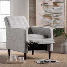 Mervynn Mid-Century Button Tufted Fabric Recliner Club Chair by Christopher Knight Home - Overstock - 15037715 - muted purple + dark espresso Living Room Chairs, Living Room Furniture, Living Room Decor, Small Recliners, Modern Recliner, Mid Century Chair, Chair Fabric, Small Living Rooms, Tufting Buttons