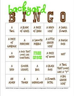 Backyard/camping bingo (have the kids find each item). For little ones who can't read, make bingo cards with pictures instead so words. Camping Bingo, Camping Hacks, Camping Parties, Camping Theme, Camping Activities, Summer Activities, Camping Stuff, Camping Gear, Camping Checklist