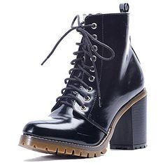 Alexis Leroy ALSF229 Casual Damen Schnüren High Heels Antirutsch Stiefeletten Ankle Boots Dameneschuhe Schwarz EU37 - Stiefel für frauen (*Partner-Link)
