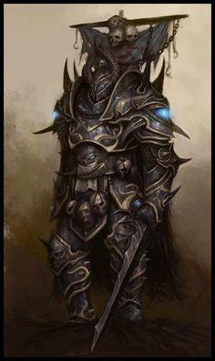 "Aspiring Chaos Champion NPC from ""Warhammer Online: Age of Reckoning"" by daarken Fantasy Armor, Medieval Fantasy, Dark Fantasy, Fantasy Character Design, Character Art, Larp, Warhammer Online, Warhammer Fantasy Roleplay, Evil Knight"