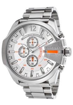 Diesel DZ4328 Watches,Men's Chronograph Stainless Steel White Dial, Casual Diesel Quartz Watches