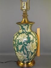 Hollywood Regency Italian Majolica Faience Pottery Green White Floral Table Lamp
