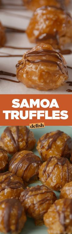 Samoa Truffles are better than the best Girl Scout cookie. Get the recipe on .These Samoa Truffles are better than the best Girl Scout cookie. Get the recipe on . Candy Recipes, Sweet Recipes, Dessert Recipes, Holiday Baking, Christmas Baking, Holiday Desserts, Christmas 2019, Best Girl Scout Cookies, Delicious Desserts