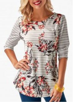 Button Back Round Neck Printed T Shirt | Rosewe.com - USD $29.05