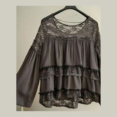 Women's romantic tunic lace ruffles tunic loose tunic