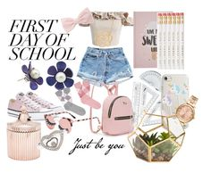 """""""First Day of School"""" by magika890 ❤ liked on Polyvore featuring Chicwish, Burlington, Converse, Milkyway, Lord & Taylor, Violet Voss, Forever 21, MICHAEL Michael Kors, Saks Fifth Avenue and Chopard"""