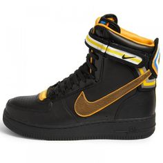 Nike Black Riccardo Tisci Air Force 1 Hi Leather Sneakers ($360) ❤ liked on Polyvore featuring shoes, sneakers, black leather sneakers, black shoes, black leather shoes, nike footwear and nike sneakers