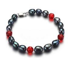 AVA - pravé riečne perly, dámsky náramok, kombinované o červené krištály, Beaded Bracelets, Ava, Jewelry, Fashion, Luxury, Moda, Jewlery, Jewerly, Fashion Styles