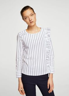 Полосатая блузка с воланом | MANGO МАНГО