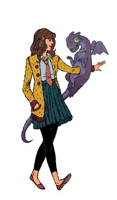 Kitty Pryde and Lockheed by Jake Wyatt *