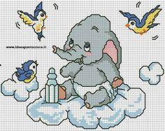 Dumbo baby by on deviantart point de croix bébé bor Baby Cross Stitch Patterns, Cross Stitch For Kids, Cross Stitch Baby, Cross Stitch Animals, Cross Stitch Kits, Cross Stitch Charts, Cross Stitch Designs, Disney Stitch, Elephant Cross Stitch