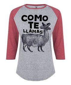 Look what I found on #zulily! Athletic Heather & Wine 'Como Te Llamas' Raglan Tee - Women #zulilyfinds