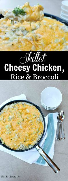 Skillet Cheesy Chicken, Rice & Broccoli is the perfect weeknight meal that is done in 30 minutes and all in one pan!