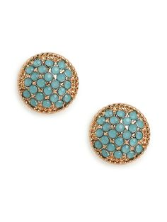 Newbie Knockout Winner!  This item was selected by our Facebook fans.  Pick it up at an insider price for 24 hours only!  Here's an elegant classic for the ages. This charming stud earring comes cast in beautifully textured gold and bejeweled with dazzling pav crystals - in bright blue for a nice pop of color.