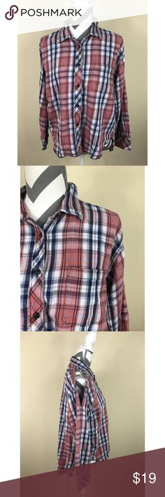 """{Denim Supply Ralph Lauren}Plaid Open Shoulder Top Excellent Pre-loved Condition!  Denim & Supply Ralph Lauren Womens Plaid  L/S Open Shoulder Top Size M  Size: M Measured laying down flat: 24"""" length in front, 28"""" length in back, 20"""" across bust, 21"""" sleeve length, excluding opening Material: 100% Cotton Description: Navy White Orange (rust), Plaid Womens Blouse, Soft Cotton, Open Shoulder Hi Low Hemline Button Front, Front Pocket  Comes from a Smoke Free Home. ID: 1243-12 Denim & Supply…"""