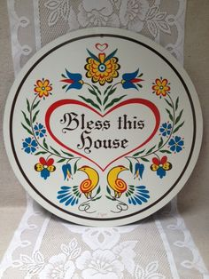 SALE Vintage J. Zook Hex Sign, Pennsylvania Dutch, Bless This House Sign on Etsy, $22.00