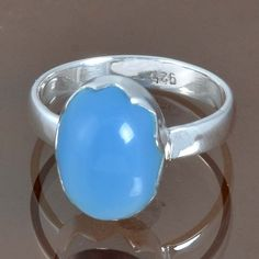 925 STERLING SILVER EXCLUSIVE BLUE CHALCEDONY LATEST RING 3.95g DJR9137 SIZE-8 #Handmade #Ring