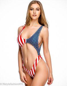 6c74c59fe8cea Women's Red, White, Blue Flag Trikini One Piece Swimwear, INstyle fashion