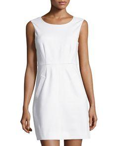 DIANE VON FURSTENBERG Sleeveless Capreena Ponte Dress, White. #dianevonfurstenberg #cloth #dress