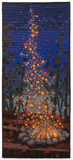 Campfire Camping Quilt Textile Art By Terry Grant