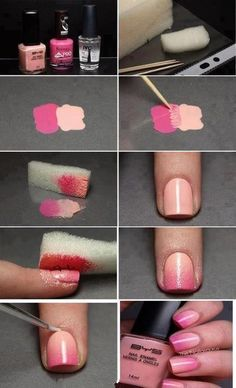 Love these nails! Find out how to make cool ombre (faded sort of) nails with nothing but nail polish and a sponge :) Diy Nails, Cute Nails, Pretty Nails, Gorgeous Nails, Perfect Nails, Do It Yourself Nails, How To Do Nails, Beauty Nails, Diy Beauty