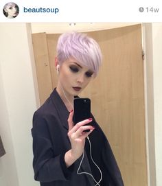 Ideas For Hair Color Pink Pastel Pixie Cuts Short Pixie Haircuts, Short Hair Cuts, Short Hair Styles, Pixie Cuts, Short Lilac Hair, Purple Pixie Cut, Pixie Hair Color, Funky Hairstyles, Pretty Hairstyles