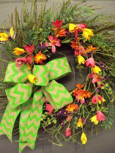 Summer Wreath Door Wreath Spring Wreath Airy by PeriwinkleSilks, $72.95