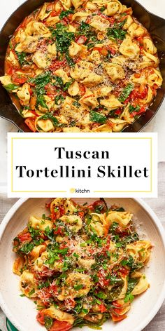 Tuscan Tortellini Skillet A quick tomatoey tortellini skillet dinner that calls for just 5 ingredients. Tuscan Tortellini Skillet A quick tomatoey tortellini skillet dinner that calls for just 5 ingredients. Skillet Dinners, Skillet Recipes, Skillet Food, Easy Skillet Dinner, Tortellini Pasta, Easy Tortellini Recipes, Spinach And Tomato Tortellini, Sausage Tortellini, Cooking Recipes