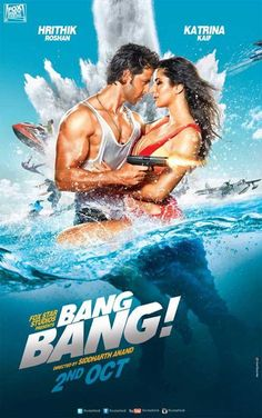Hrithik Roshan's upcoming film Bang Bang look is out today and Hrithik spotted with Katrina Kaif in this film look poster. The film is starring Hrithik Roshan and Katrina Kaif. And Bang Bang is directed by SiddharthAnand and the hottest actress. Movies 2014, Imdb Movies, Top Movies, Movies Free, Popular Movies, Watch Movies, Katrina Kaif, Bang Bang, Koh I Noor