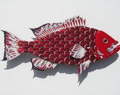 Fish made with Bud Light Bottlecaps Metal Grouper Fish Wall Art Beer Cap Art, Beer Caps, Fish Wall Art, Fish Art, Bottle Cap Crafts, Bottle Caps, Beer Bottle, Bottle Top Art, Grouper Fish