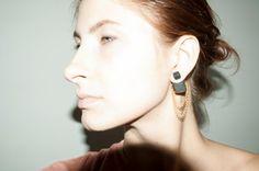 Double Pearl Earring Square Tribal Stud Earings Black от candyfoxx