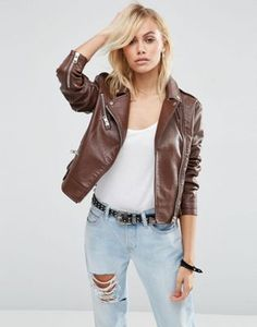 ASOS Biker Jacket in Textured Faux Leather