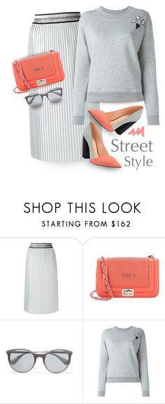 """Gray & peach for Spring"" by muse-charming ❤ liked on Polyvore featuring Isabelle Blanche, Mario Valentino, Prada, Sonia Rykiel and Shoes of Prey"