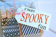 Halloween Smores! Such pretty packaging. You could use Avery printable tags to re-create the cute tag, and full-sheet labels to print the Bloom Designs and cut, peel and stick.