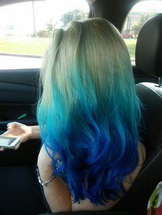 Icy blue ombre hair. Blue hair, blue ombre hair by Jessica at Selah Salon Waco