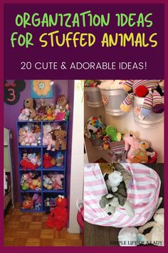 Is your kid's stuffed animals all over the place? Get those fluffly creatures in control with these clever storage ideas for stuffed animals!