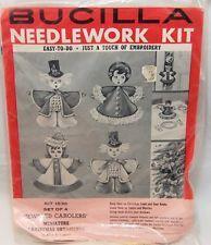 Vintage Bucilla Felt Christmas Carolers 4 Ornaments Jeweled Kit NEW old stock $25 ships free