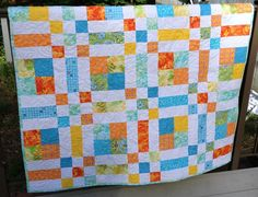 Patchwork baby quilt great for a boy or girl.