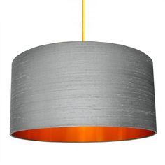 Indian Silk Lampshade - Ash & Brushed Copper