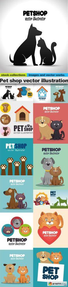 Pet shop vector illustration, 15 x EPS