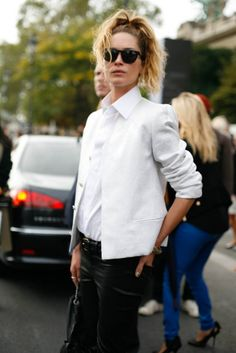 Erin Wasson Paris Fashion Week Spring 2013. This is a look you can wear anywhere. Plus, you can easily buy pieces that are extremely similar without the high cost. She looks put together without overdoing it. I personally like a pop of color somewhere but this gets a fashion pass for structure, looking sophisticated, plus the possible budget savings. Great look.
