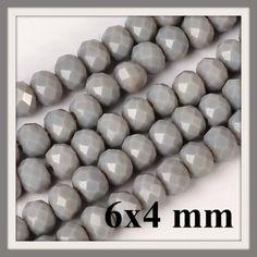 Csiszolt rondell abacus kristály gyöngy 6x4 mm 20 db Opak Sötét Szürke - Csinálj Ékszert! - Ékszerkészítés, bizsualkatrészek, üveglencsés ékszer