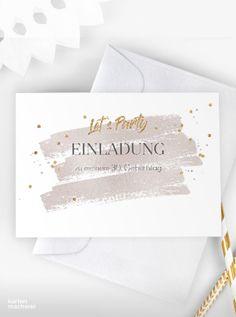 """Let's Party! Party-Einladungskarte zu deinem 30. Geburtstag. Der zarte Aquarellverlauf mit der goldenen Schrift passt perfekt zu jedem Motto. Lade mit hochwertigen und modernen Einladungskarten deine Gäste zu deiner Geburtstagsfeier ein. Lass dich von kreativen Designs und witzigen Ideen für deine Einladung inspirieren. Gestalte deine Einladungskarte zum 30. Geburtstag jetzt ganz einfach online und überrasche deine Liebsten. Design: """" """" #kartenmacherei #geburtstag Motto, Designs, Summer, Birthday Celebrations, Creative Design, Invitation Cards, Creative Ideas, Summer Time, Mottos"""