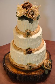 Rustic Round Wedding Cakes - cakecentral