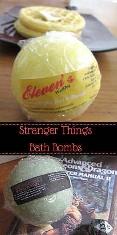 Make sure to have one of Eleven's trusty waffle bath bombs on hand for when your energy is running critically low! This bath bomb will fill your tub with the nostalgic scent of warm Eggo waffles topped with a light layer of butter and a drizzle of fresh maple syrup. The Demogorgon bath bomb is scented with a fresh blend of ozone, lush dark greenery, the innocence of castle Byers and a hint of the Upside Down. Use the dice inside to roll a 13 or higher. #StrangerThings #BathBombs #ad…