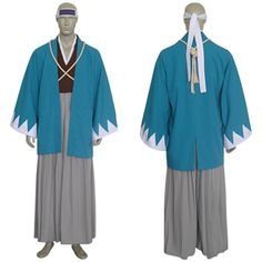 "The standard Shinsengumi uniform consisted of the haori and hakama over a kimono, with a white cord called a tasuki crossed over the chest and tied in the back. The Shinsengumi wore a light chainmail suit beneath their robes and a light helmet made of iron and a head band on which was inscribed the word makoto (誠, sincerity). The uniform was best defined by the haori, which was colored asagi-iro (浅葱色, light blue). The haori sleeves were trimmed with ""white mountain stripes""."