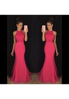 Prom dress Formal dress Pink High Neck Sweep Train Chiffon Trumpet Mermaid Prom Dress