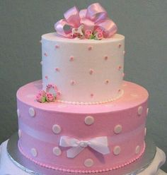 shower cakes baby shower cake ideas for girls baby girl cakes baby Baby Cakes, Baby Shower Cakes, Girl Shower Cake, Dot Cakes, Cupcake Cakes, Pink Cakes, Cake Fondant, Fondant Girl, Pretty Cakes